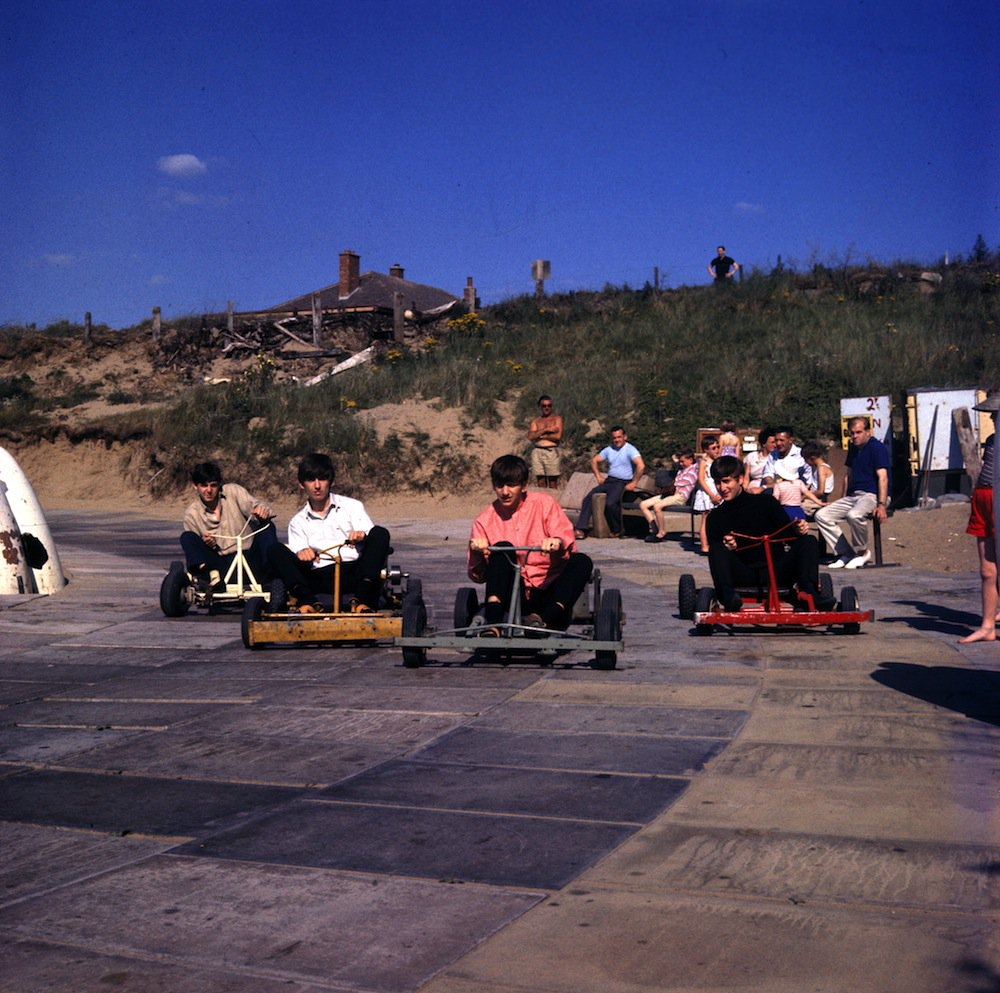 The Beatles riding go karts at Brean Down Beach, Somerset, July 22nd, 1963.