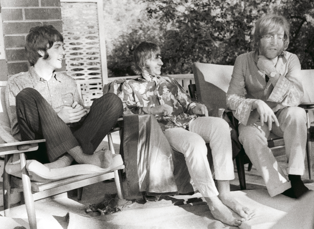 Paul McCartney, Ringo Starr and John Lennon in India, 1968.