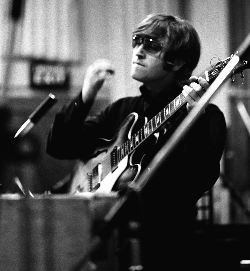 John Lennon at a Revolver recording session, 1966.