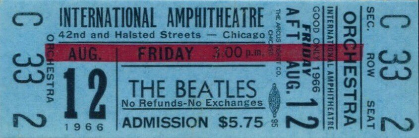 Ticket for the Beatles' performance at the International Amphitheatre, Chicago, August 12th 1966.