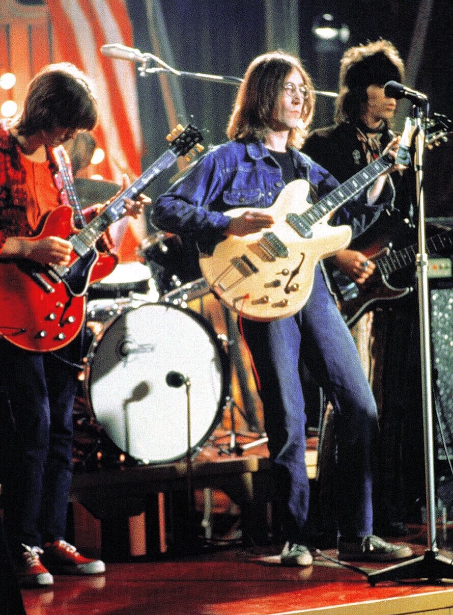 John Lennon with Eric Clapton, Keith Richards and Mitch Mitchell, performing Yer Blues, December 11th 1968.