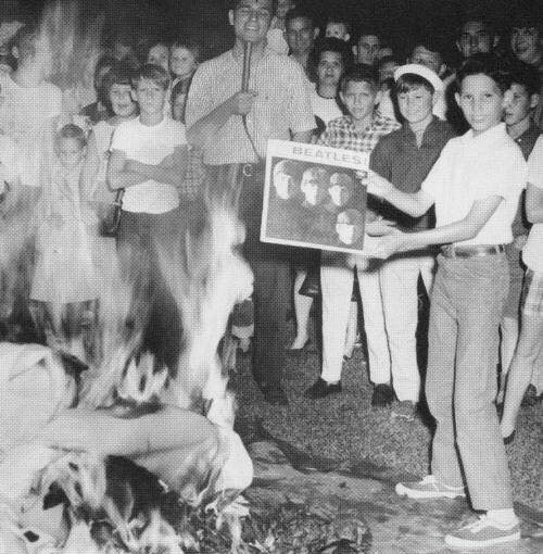 Burning the Beatles' records in a public bonfire, 1966.