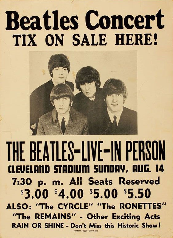 Concert poster for The Beatles' concert at Cleveland Stadium, August 14th 1966.