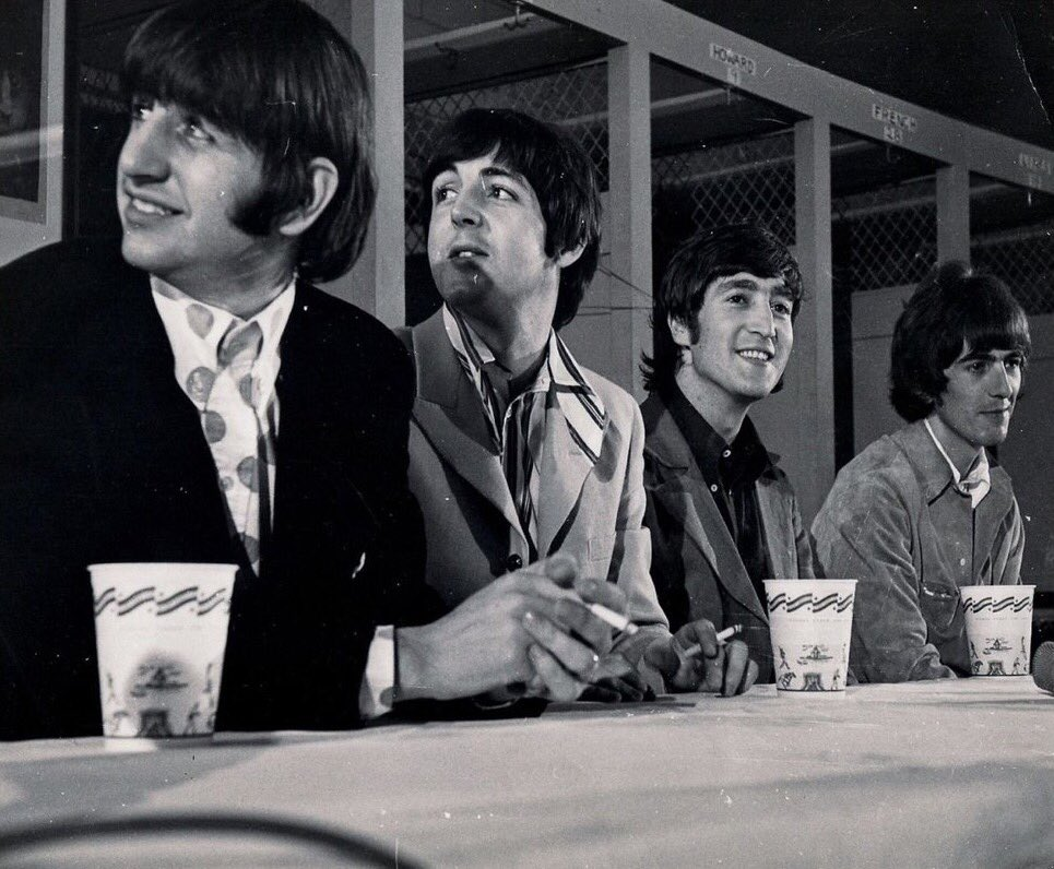 The Beatles holding a press conference at DC Stadium, Washington D.C., August 15th 1966.