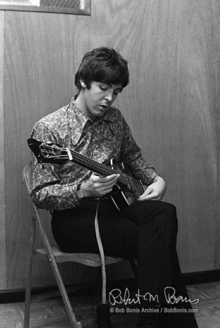Paul McCartney backstage at John F Kennedy Stadium, August 16th 1966. Photo by Bob Bonis.