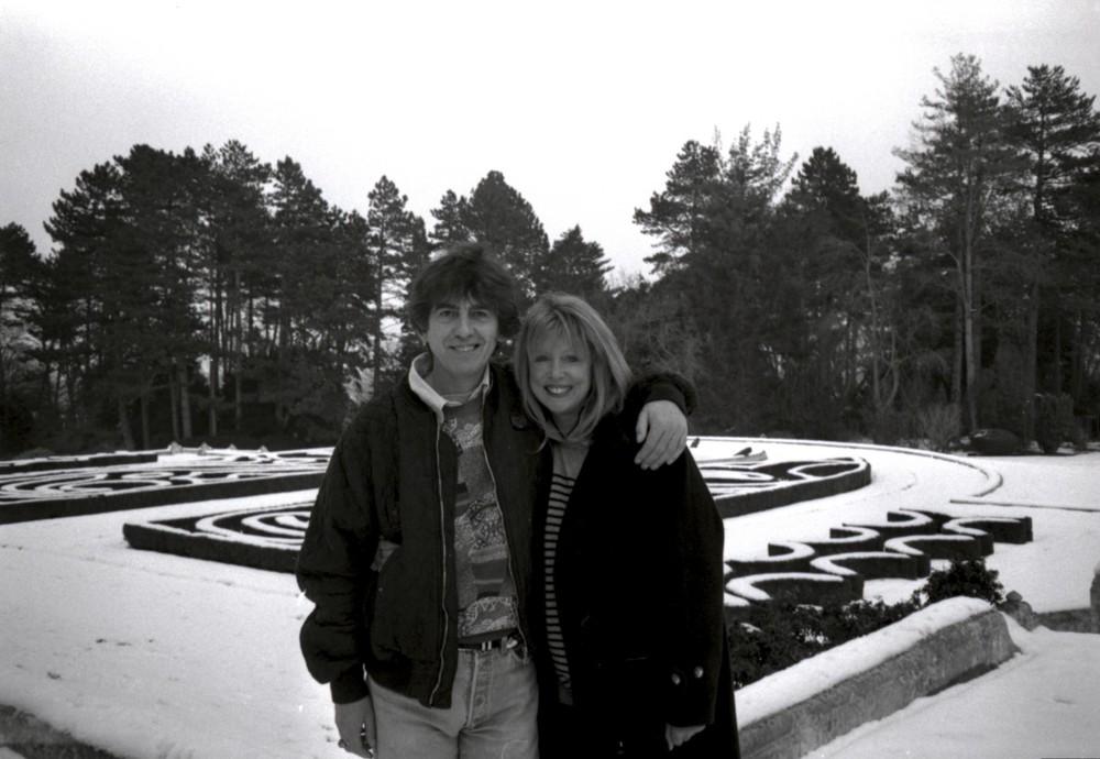 George Harrison and Pattie Boyd at Friar Park, 1991.