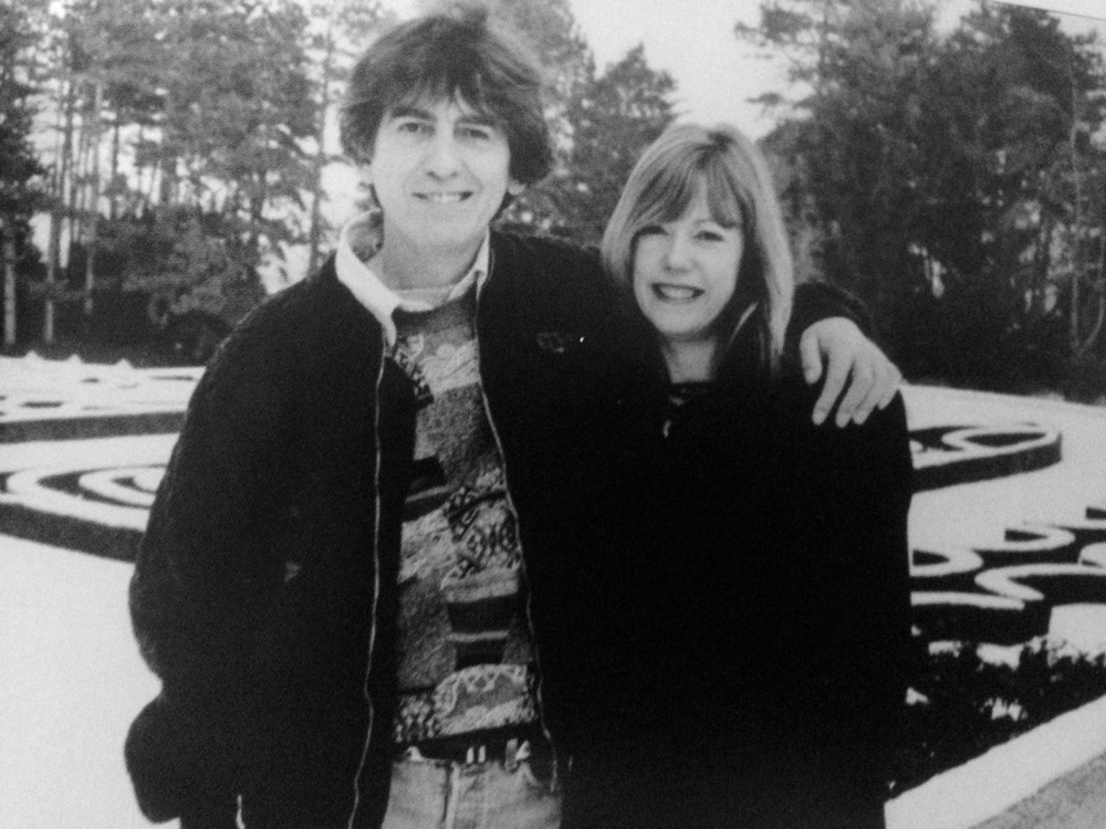 George Harrison and Jenny Boyd at Friar Park, 1991.