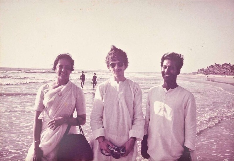 George Harrison in India with friends, 1966.