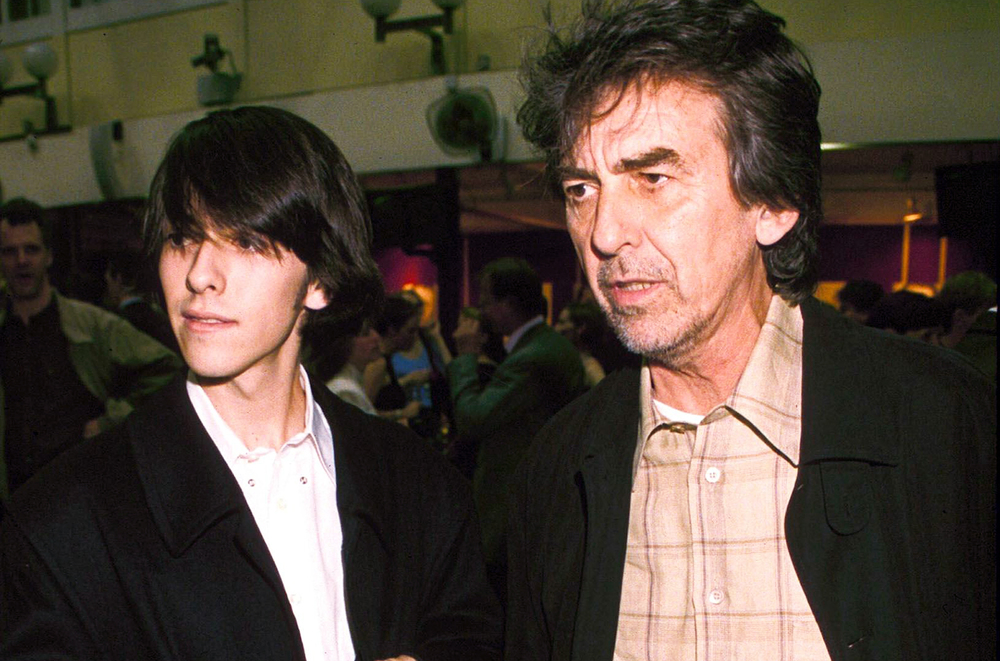 George Harrison with son Dhani, circa 1989.