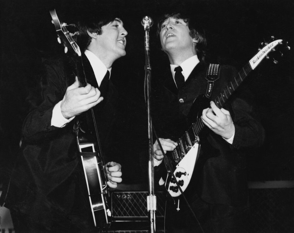 Paul McCartney and John Lennon at the Cow Palace, San Francisco, August 19th 1964.