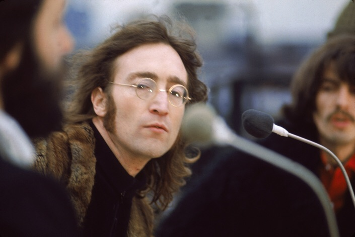 John Lennon on the rooftop of Apple Headquarters, 3 Saville Row, January 30th 1969.
