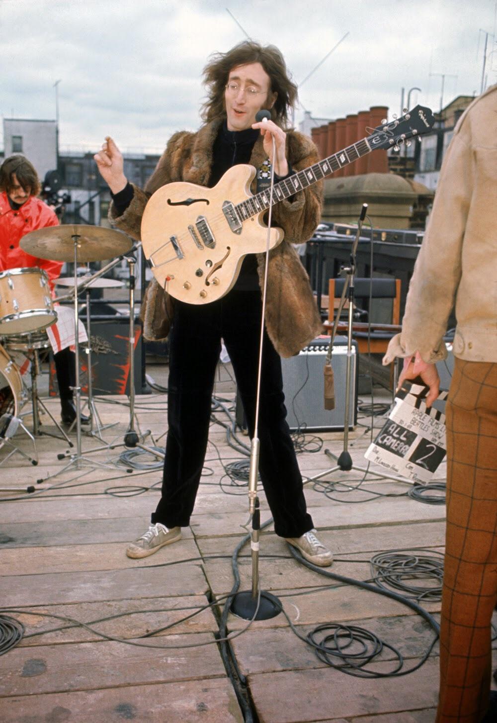 John Lennon on the rooftop of Apple Headquarters, 3 Saville Row, January 30th 1969.