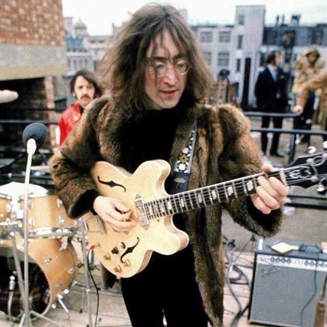 John Lennon an Ringo Starr on the rooftop of Apple Headquarters, 3 Saville Row, January 30th 1969.