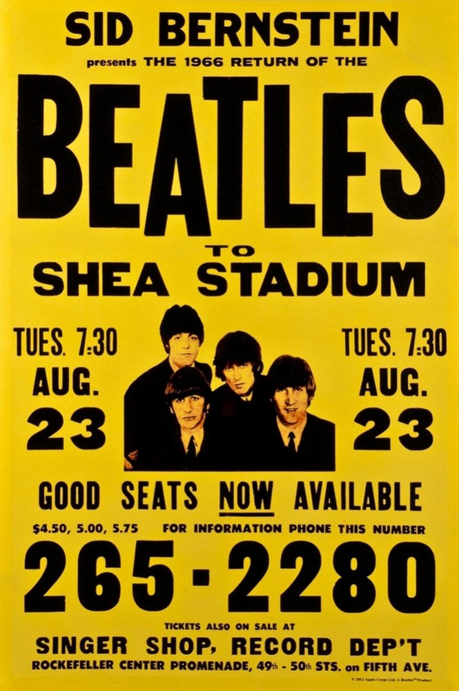 Poster for the Beatles' concert at Shea Stadium, August 23rd, 1966.