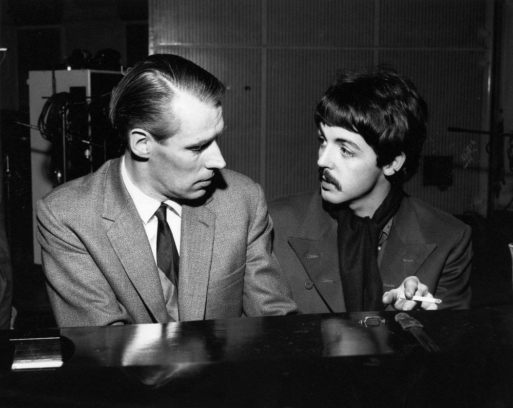 George Martin with Paul McCartney during a Sgt. Pepper session, 1967.