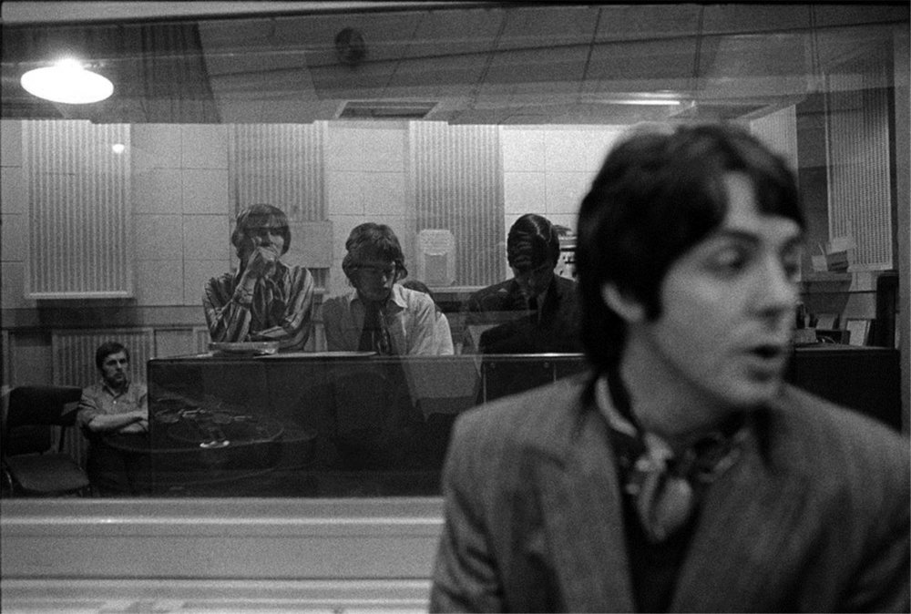 Paul McCartney in studio with the Rolling Stones, 1967.