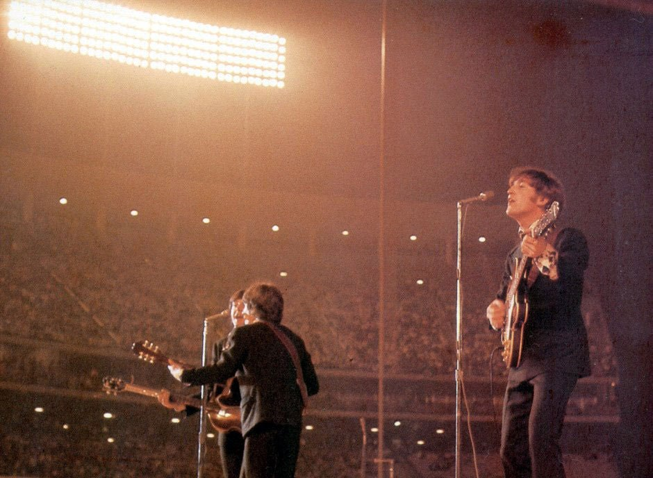 The Beatles at Dodger Stadium, Los Angeles, August 28th 1966.