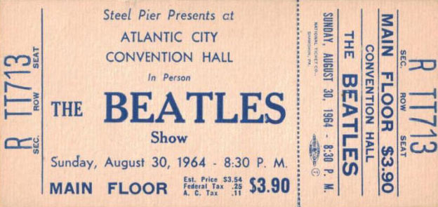 Ticket for the Beatles' concert at Atlantic City, New Jersey, August 30th 1964.