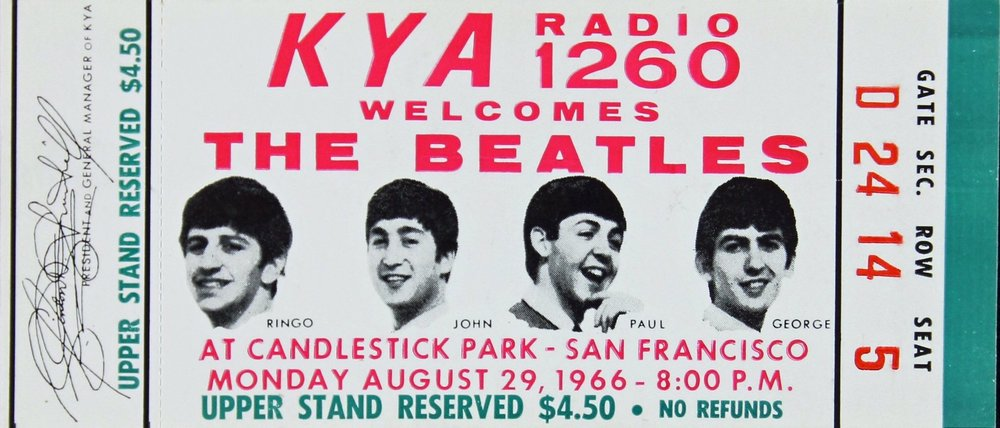 Ticket for the Beatles at Candlestick Park, San Francisco, August 29th, 1966.