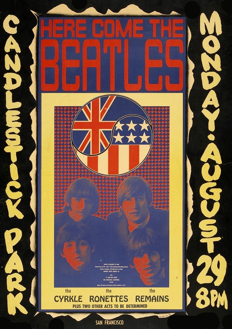 Poster for the Beatles' last concert at Candlestick Park, San Francisco, August 29th, 1966.