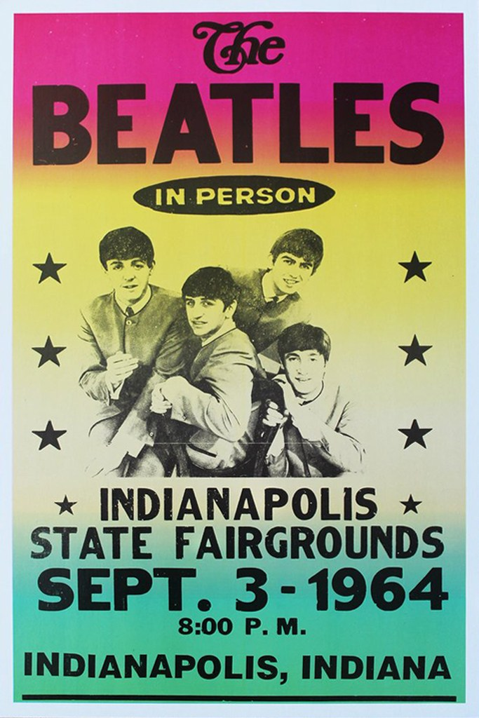 Poster for The Beatles' concert at the State Fair Coliseum, Indianapolis, September 3rd, 1964.
