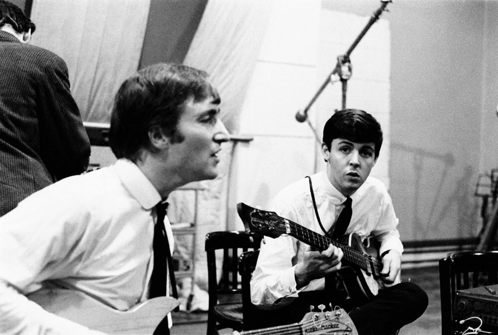 John Lennon and Paul McCartney at an early Abbey Road recording session, September 4th, 1962.