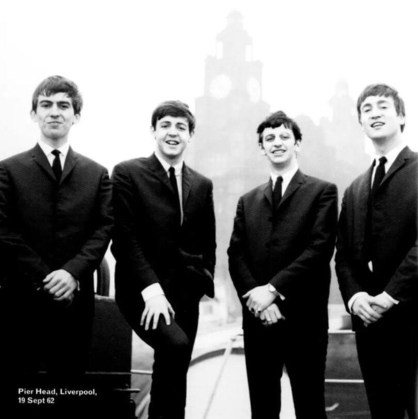 The Beatles at Pier Head, Liverpool, 1963.