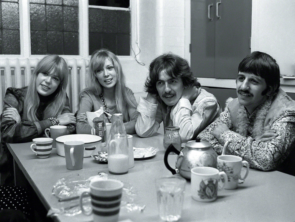 Jenny and Pattie Boyd with George Harrison and Ringo Starr in Bangor Wales, August 1967.