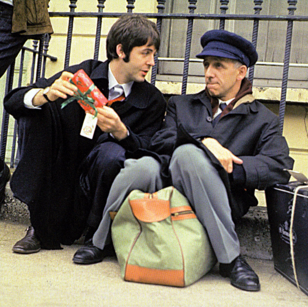 Paul McCartney waiting the Magical Mystery Tour bus with actor Ivor Cutler, September 11th 1967.