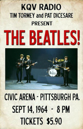 Poster for the Beatles' performance at the Civic Arena, Pittsburgh, September 14th 1964.