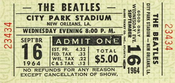 Ticket for the Beatles' performance at City Park Stadium, New orleans, September 16th 1964.