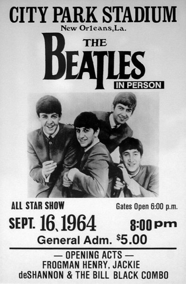Poster for the Beatles' performance at City Park Stadium, New orleans, September 16th 1964.