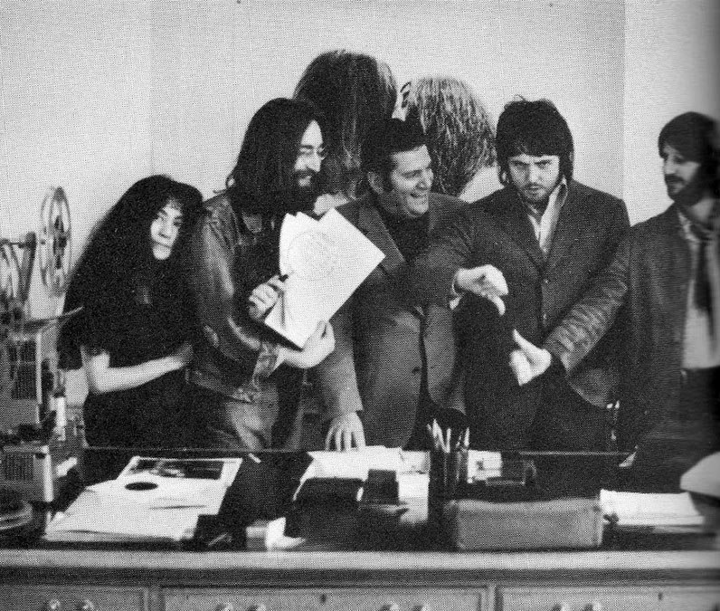Yoko Ono, John Lennon, Allen Klein, Paul McCartney and Ringo Starr at 3 Saville Row, September 20th 1969.