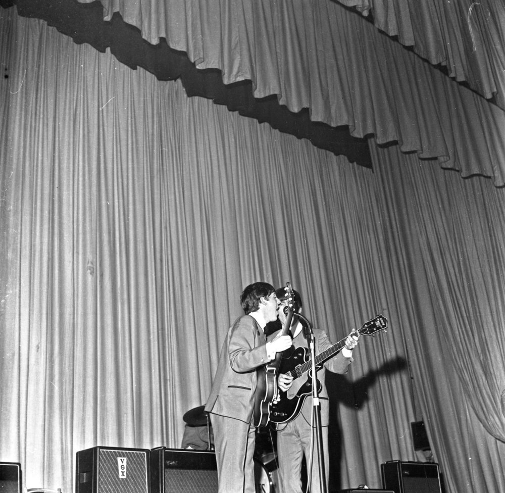 Paul McCartney and George Harrison at the Adelphi Cinema, November 7th 1963.