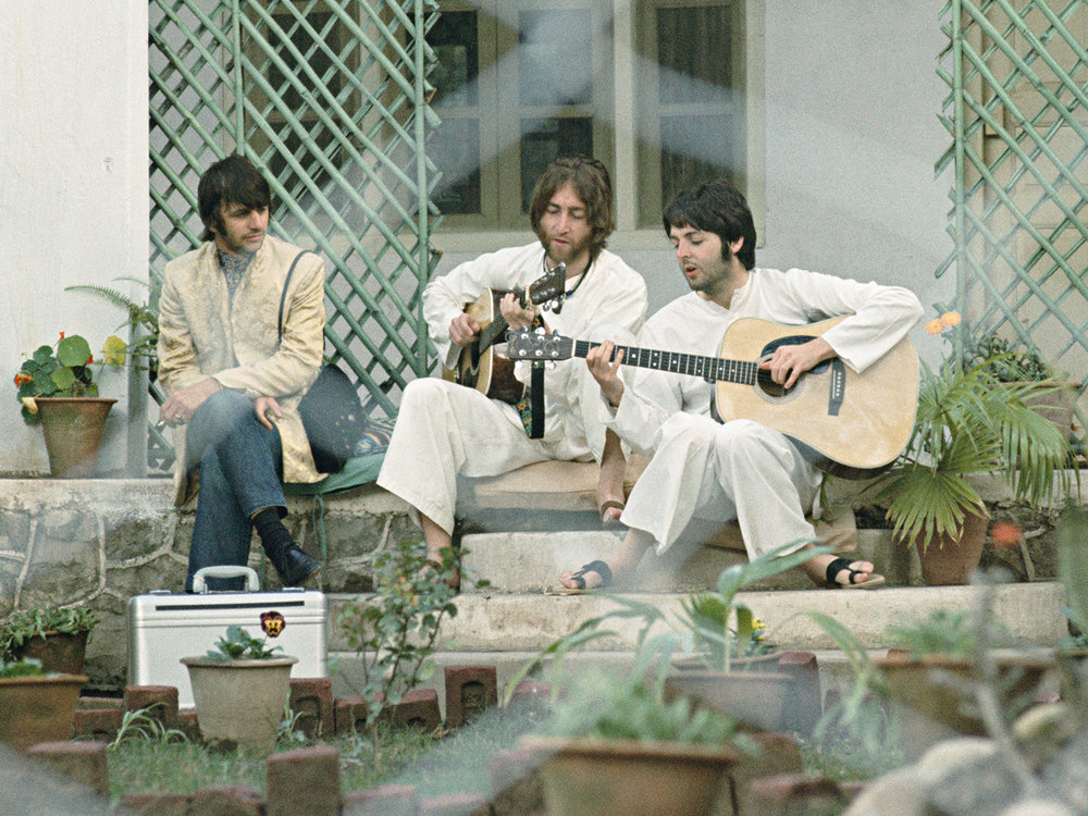 Ringo Starr, John Lennon and Paul McCartney in India, 1968.