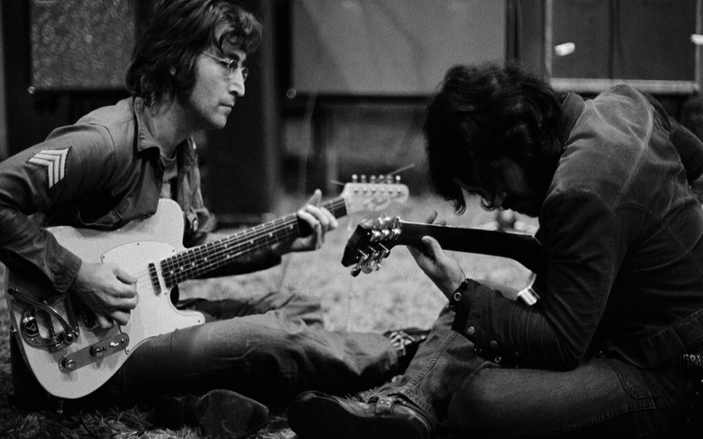John Lennon and George Harrison working on Imagine at Tittenhurst Park, 1971.