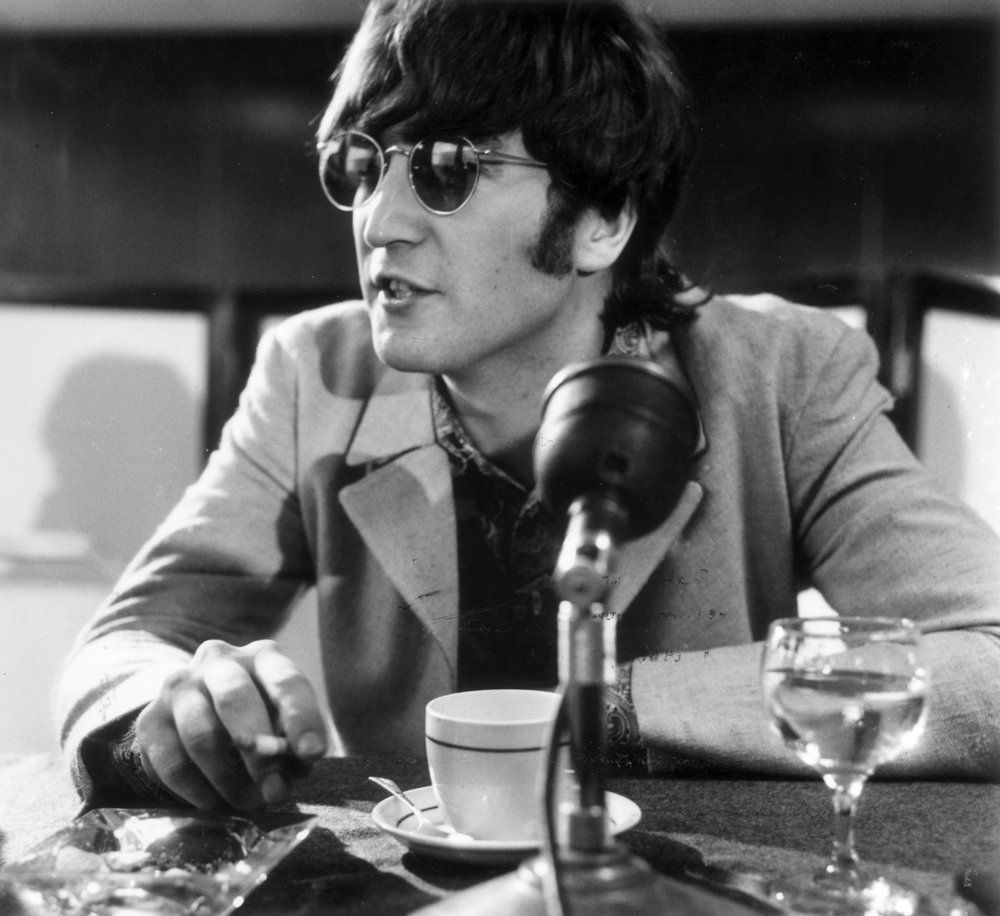 John Lennon at a Beatles' press conference in the US, 1966.