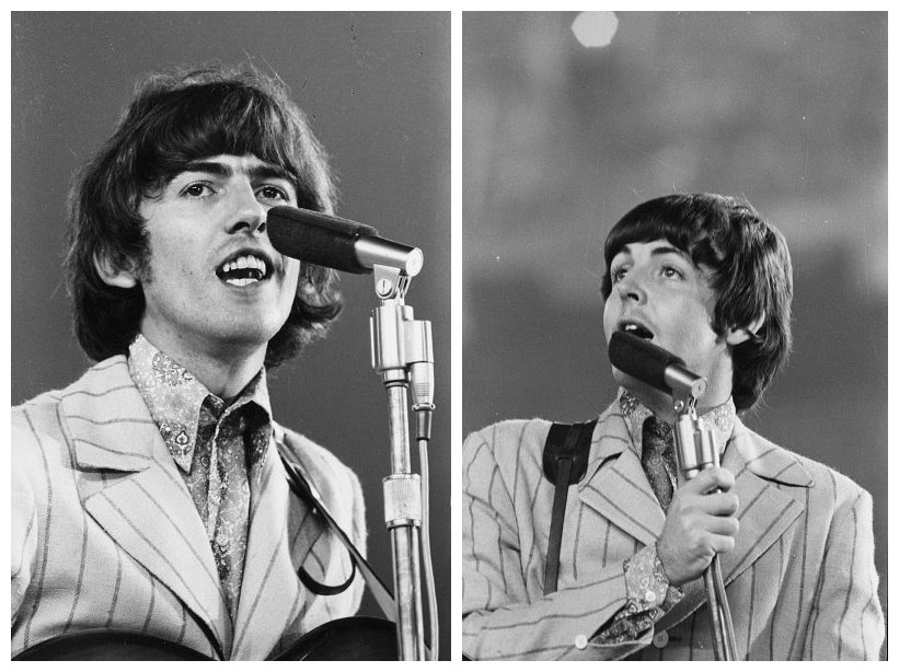 George Harrison and Paul McCartney at Shea Stadium, August 23rd, 1966.
