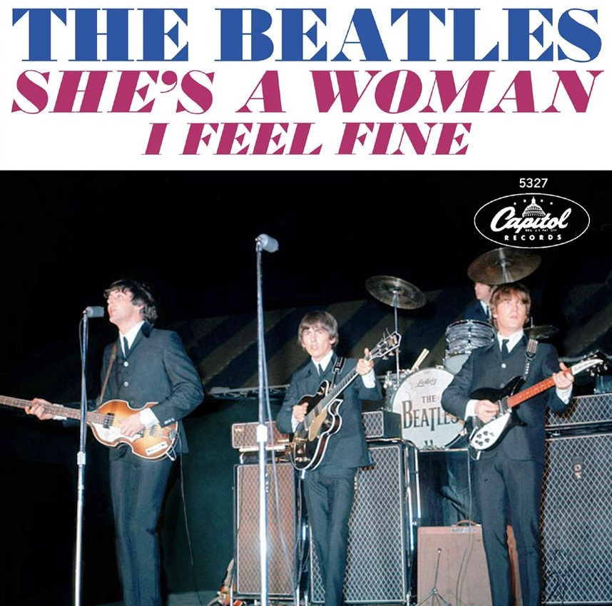 I Feel Fine/She's a Woman single sleeve, 1964.