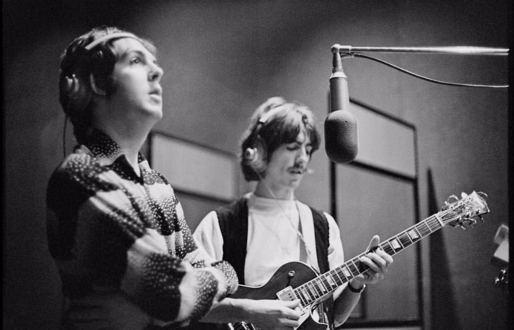 Paul McCartney and George Harrison recording the White Album, 1968. Photo by Linda McCartney.