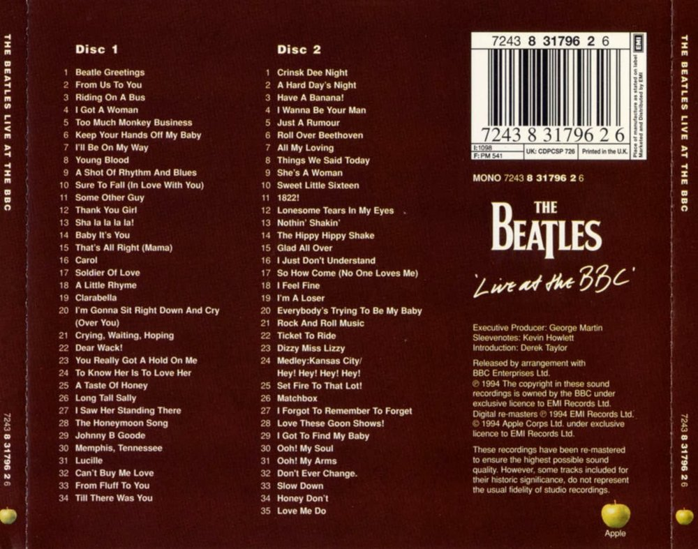 Live at the BBC rear album cover, 1994.