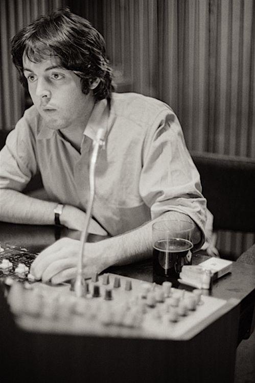 Paul McCartney working on the White Album, 1968.
