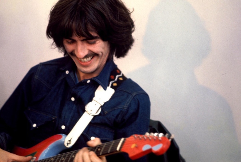 George Harrison recording Let It Be at Apple Headquarters, 3 Savile Row, London, 1969.