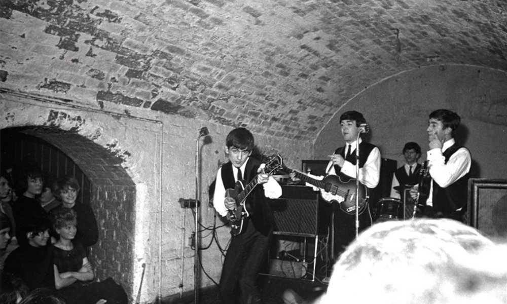 The Beatles at the Cavern with their new drummer Ringo Starr, 1962.