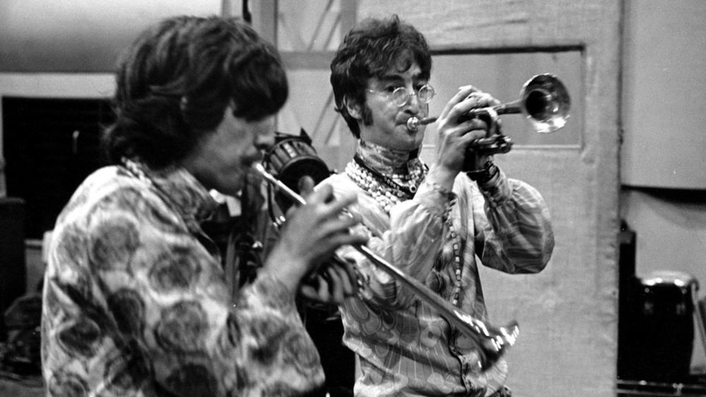 George Harrison and John Lennon rehearsing All You Need Is Love, 1967.