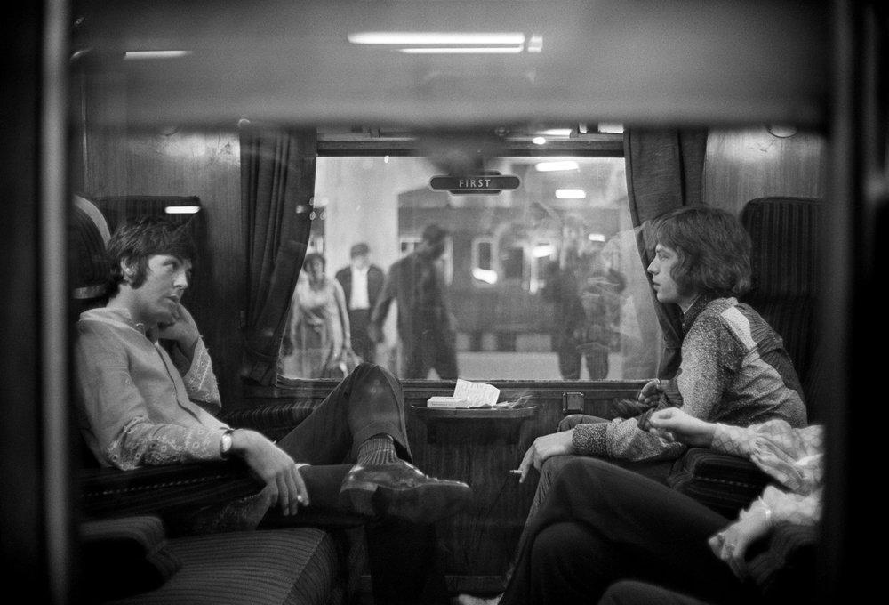 Paul McCartney and Mick Jagger travelling to Bangor to see Maharishi Mahesh Yogi, August 25th 1967.