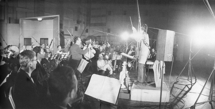 Paul McCartney conducting a forty piece orchestra for A Day in the Life, February 10th 1967.