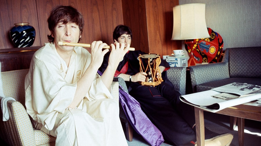 John Lennon and Paul McCartney in the Presidential Suite of the Tokyo Hilton, June 1966.