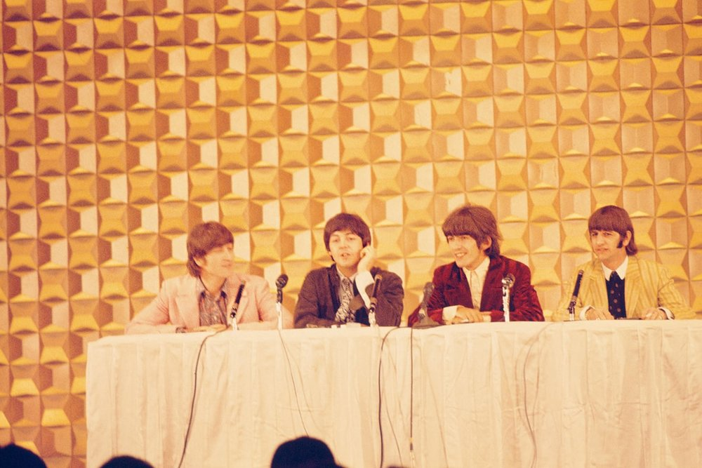 The Beatles giving a press conference at the Tokyo Hilton, June 1966.