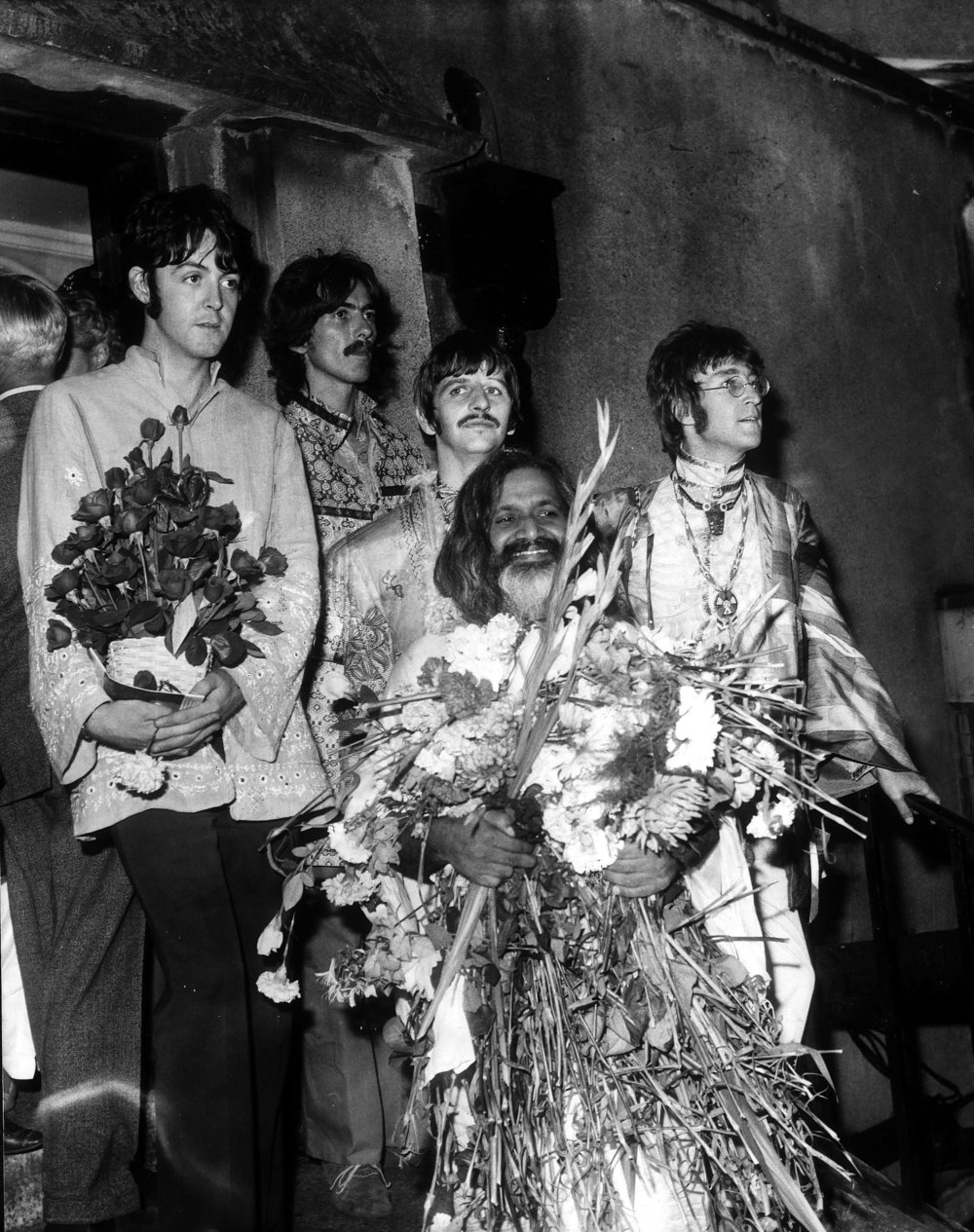 The Beatles and Maharishi Mahesh Yogi in Bangor, Wales, August 1967.